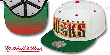 Bucks 'HOMESTAND SNAPBACK' White-Green Hat by Mitchell & Ness