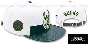 Bucks HORIZON STRAPBACK White-Green Hat by Pro Standard