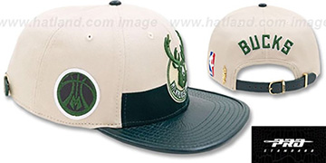 Bucks HORIZON STRAPBACK Tan-Green Hat by Pro Standard