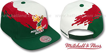 Bucks PAINTBRUSH SNAPBACK White-Red-Green Hat by Mitchell & Ness