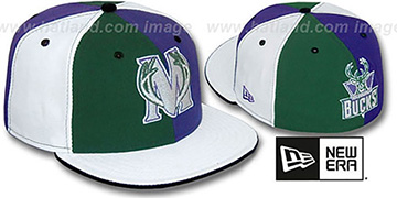 Bucks TWO BIG 'PINWHEEL' Green-Purple-White Fitted Hat