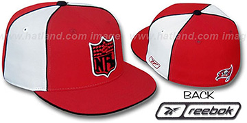 Bucs NFL SHIELD PINWHEEL Red White Fitted Hat by Reebok