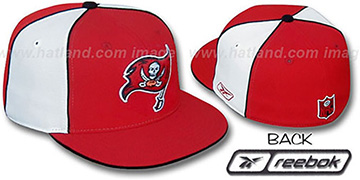 Bucs TEAM PINWHEEL Red White Fitted Hat by Reebok