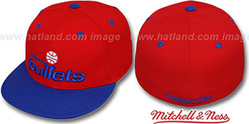 Bullets '2T CLASSIC THROWBACK' Red-Royal Fitted Hat by Mitchell and Ness