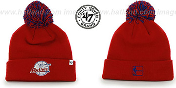 Bullets POMPOM CUFF Red Knit Beanie Hat by Twins 47 Brand