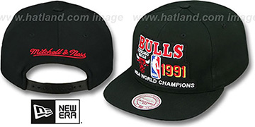 Bulls '1991 CHAMPS SNAPBACK' Black Hat by Mitchell & Ness