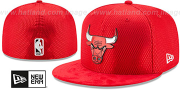 Bulls 2017 ONCOURT Red Fitted Hat by New Era