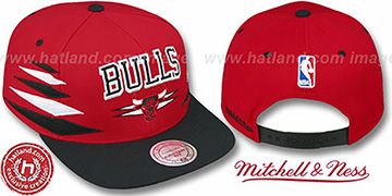 Bulls '2T DIAMONDS SNAPBACK' Red-Black Adjustable Hat by Mitchell & Ness