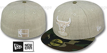 Bulls 2T-HEATHER Oatmeal-Army Fitted Hat by New Era