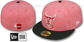 Bulls '2T-HEATHER' Red-Black Fitted Hat by New Era