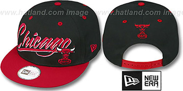 Bulls '2T HW RETRO-WORD SNAPBACK' Black-Red Adjustable Hat by New Era