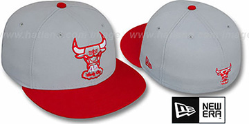 Bulls '2T HW TEAM-BASIC' Grey-Red Fitted Hat by New Era
