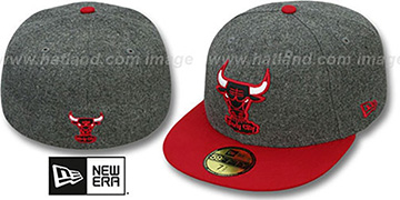 Bulls 2T MELTON-BASIC Grey-Red Fitted Hat by New Era