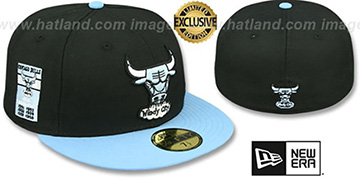 Bulls 6X BANNER SIDE-PATCH Black-Sky Fitted Hat by New Era