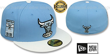 Bulls 6X 'BANNER SIDE-PATCH' Sky-White Fitted Hat by New Era