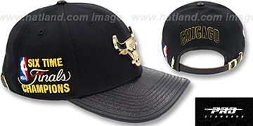 Bulls 6X CHAMPS GOLD METAL BADGE STRAPBACK Black-Gold Hat by Pro Standard