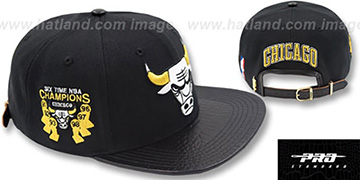 Bulls 6X CHAMPS TROPHY STRAPBACK Black-Gold Hat by Pro Standard