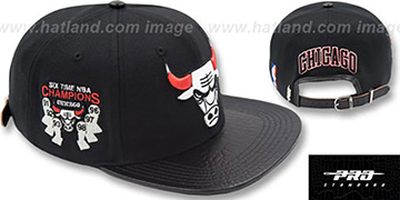 Bulls '6X CHAMPS TROPHY STRAPBACK' Black-Red Hat by Pro Standard