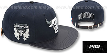 Bulls 6X CHAMPS TROPHY STRAPBACK Navy-Grey Hat by Pro Standard