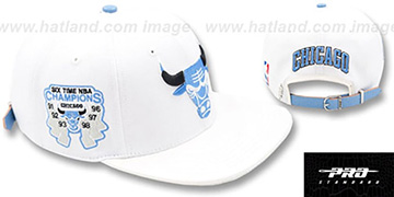 Bulls 6X CHAMPS TROPHY STRAPBACK White-Sky Hat by Pro Standard
