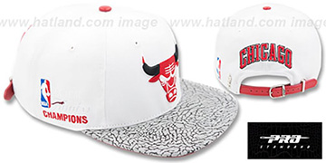 Bulls 6X FINALS CHAMPS STRAPBACK White-Elephant Hat by Pro Standard