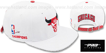 Bulls 6X FINALS CHAMPS STRAPBACK White Hat by Pro Standard