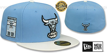 Bulls 6X PATENT BANNER SIDE-PATCH Sky-White Fitted Hat by New Era