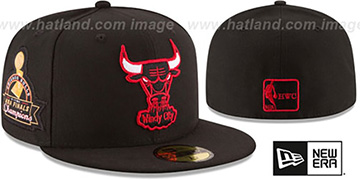 Bulls 6X TITLES SIDE-PATCH Black Fitted Hat by New Era