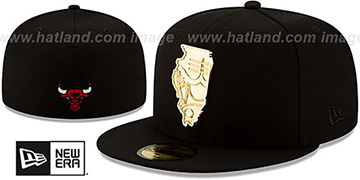 Bulls ALL GOLD STATED METAL-BADGE Black Fitted Hat by New Era