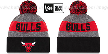 Bulls ARENA SPORT Black-Red Knit Beanie Hat by New Era
