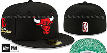 Bulls 'BANDANA KELLY BOTTOM' Black Fitted Hat by New Era
