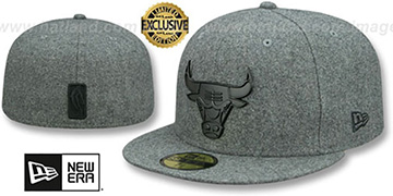 Bulls BLACK METAL-BADGE Melton Grey Fitted Hat by New Era