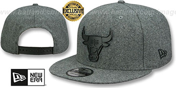 Bulls 'BLACK METAL-BADGE SNAPBACK' Melton Grey Hat by New Era