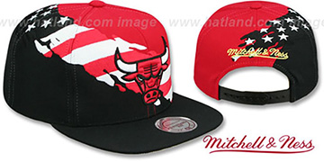 Bulls BRUSHED FLAG SNAPBACK Red-Black Hat by Mitchell and Ness