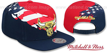 Bulls BRUSHED FLAG SNAPBACK Red-Navy Hat by Mitchell and Ness
