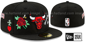 Bulls CHAMPS-N-ROSES Black Fitted Hat by New Era