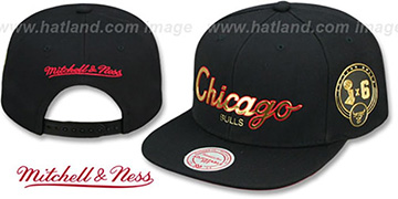 Bulls CITY CHAMPS SCRIPT SNAPBACK Black Hat by Mitchell and Ness