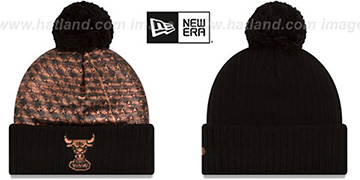 Bulls COPPER CRUSH Black Knit Beanie by New Era