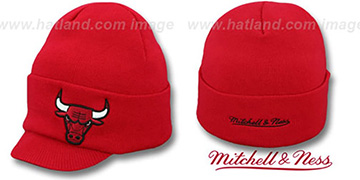 Bulls 'CUFFED-VISOR KNIT BEANIE' Red Hat by Mitchell and Ness