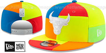 Bulls DAYGLOW PATCHWORK SNAPBACK Hat by New Era