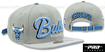 Bulls 'DROP SHADOW SCRIPT STRAPBACK' Grey Hat by Pro Standard