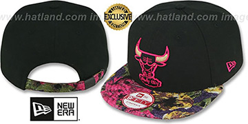 Bulls FLORAL-FUR STRAPBACK Black-Pink Hat by New Era