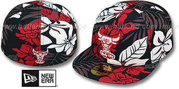Bulls 'FLORICAL' Black Fitted Hat by New Era