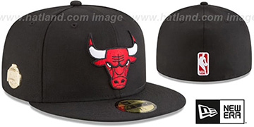 Bulls GILDED TURN Black Fitted Hat by New Era