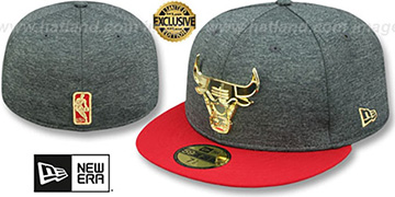 Bulls GOLD METAL-BADGE Shadow Tech-Red Fitted Hat by New Era
