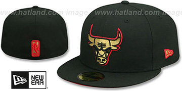 Bulls GOLD METALLIC STOPPER Black Fitted Hat by New Era