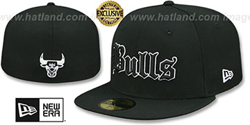 Bulls GOTHIC TEAM-BASIC Black Fitted Hat by New Era