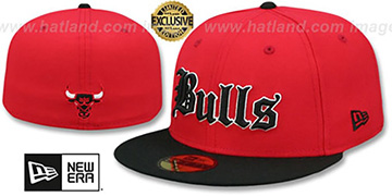 Bulls 'GOTHIC TEAM-BASIC' Red-Black Fitted Hat by New Era