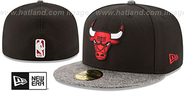Bulls GRIPPING-VIZE Black-Grey Fitted Hat by New Era