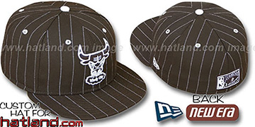 Bulls HARDWOOD PINSTRIPE Brown-White Fitted Hat by New Era